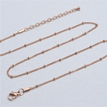 20 Inch Rose Gold Stainless Steel Station Ball Chain for Floating Locket